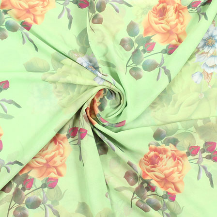 Green Brown Flower Georgette Silk Fabric-15099